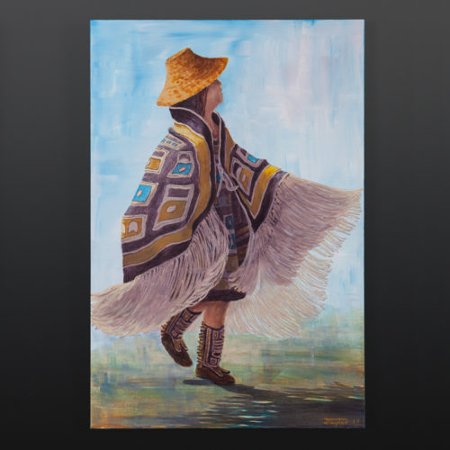 following my sister jean taylor tlingit 20 x 30 original painting on canvas 1650 dancer chilkat