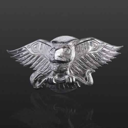 Owl and Serpent pendant snake Gus Cook Kwakwaka'wakw silver Repoussé jewelry pendant native art northwest coast 4 x 2 2200