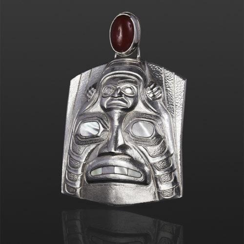 Shark Dogfish pendant Gus Cook Kwakwaka'wakw Carnelion silver Repoussé jewelry pendant native art northwest coast