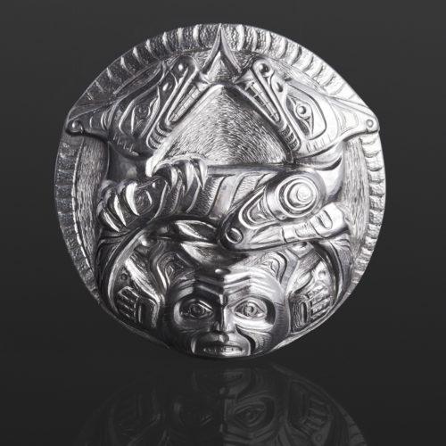 sisiutl pendant serpent wolf Gus Cook Kwakwaka'wakw silver Repoussé jewelry native art northwest coast 2 1/2 x 2 1/2 2800