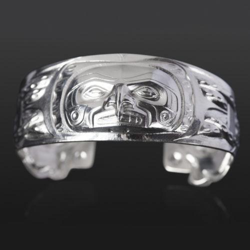 octopus bracelet custom stand Gus Cook Kwakwaka'wakw silver Repoussé jewelry native art northwest coast 6 1/2 x 1 2400