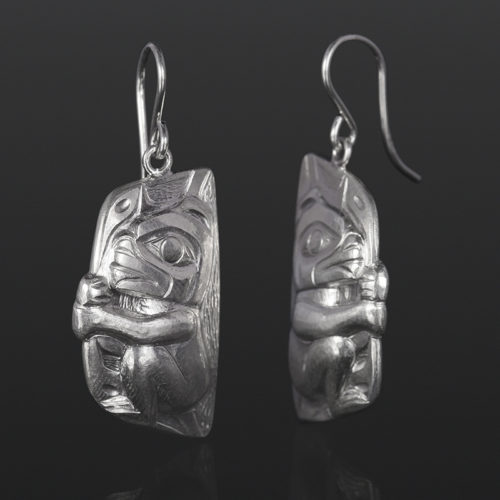 bear cub earrings Gus Cook Kwakwaka'wakw silver Repoussé jewelry native art northwest coast 1 x 1/2 1100