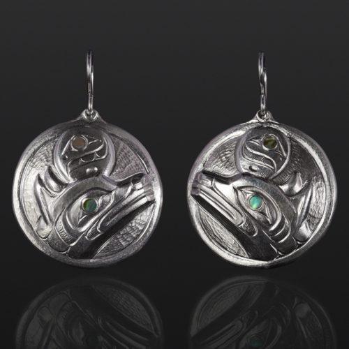wolf moon earrings Gus Cook Kwakwaka'wakw silver Repoussé jewelry native art northwest coast abalone 1 x 1 1400