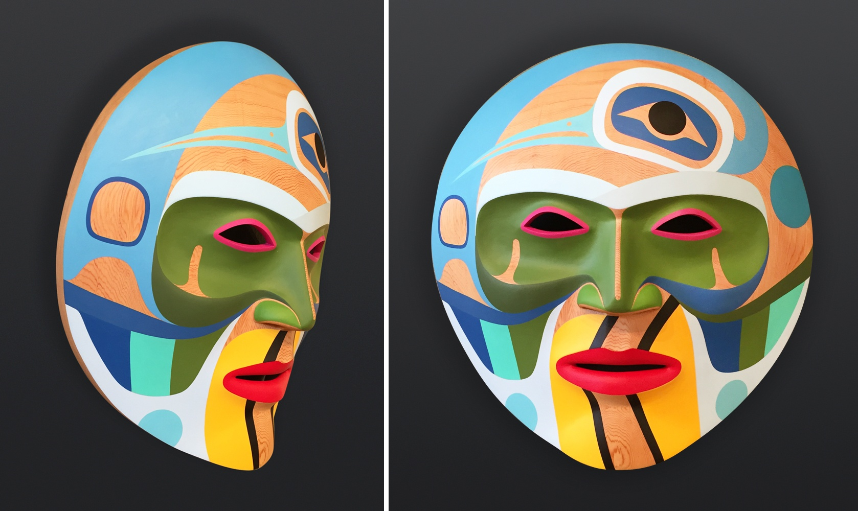 Steve Smith Dlakwagila Oweekeno Summer Moon Acrylic on red cedar mask 18 x 18 x 7 5800