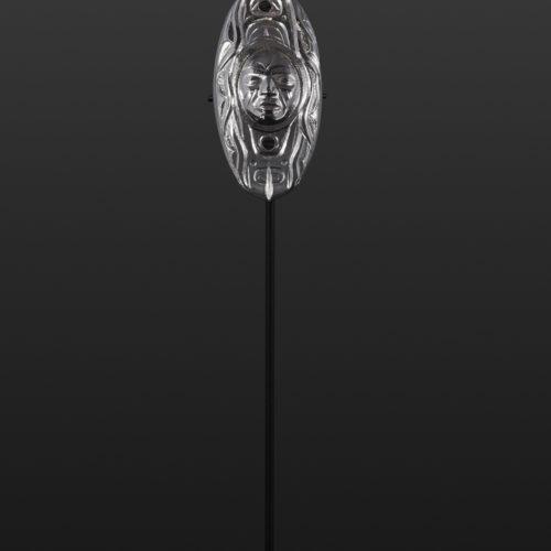 New Moon Gus Cook Kwakwaka'wakw Silver and abalone woman pendant repousse jewelry 1½ x ½ 1600