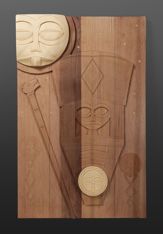 "Moon and Stars Panel Greg Robinson Chinook Yellow cedar, red cedar 31¼"" x 20"" x 2¾"" $4000 Columbia river Northwest coast Chinookan"