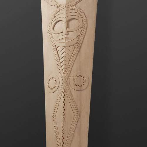 "Serpent Tamanawas - Spirit Power Paddle Greg Robinson Chinook Yellow cedar 63½"" x 5½"" x 1½"" $3000 Columbia river Northwest coast Chinookan"