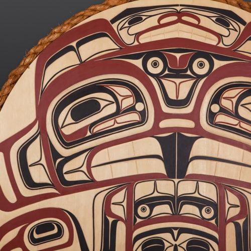 "Sts'ool First Beaver David Boxley Tsimshian Yellow cedar, cedar rope, paint 31"" diameter 6000 northwest coast native art eagle"