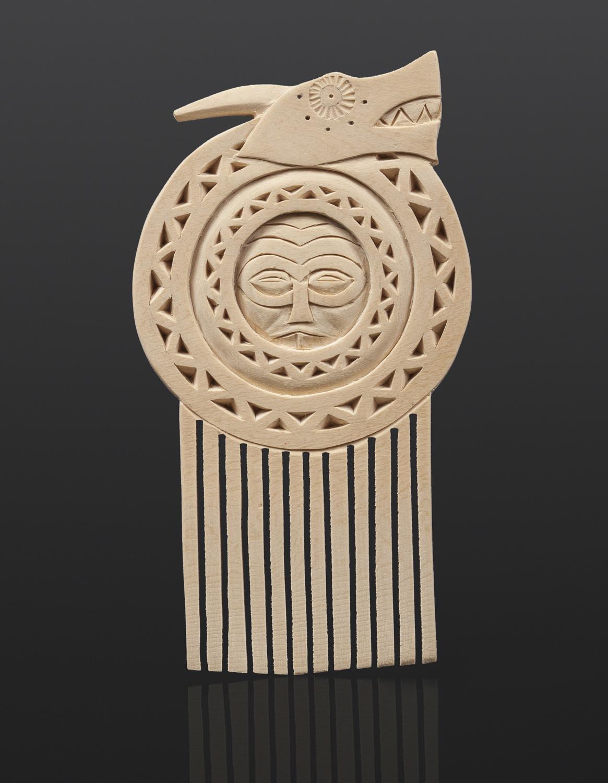 "River Serpent Comb Greg Robinson Chinook Yellow cedar, custom stand 5"" x 3½"" x ½"" $1200 Columbia river Northwest coast Chinookan"