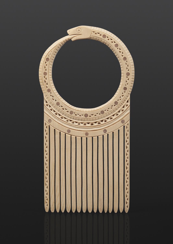 "Ulq"" - Snake Comb Greg Robinson Chinook Yellow cedar, red cedar, custom stand 8"" x 5½"" x ½"" $1900 Columbia river Northwest coast Chinookan"