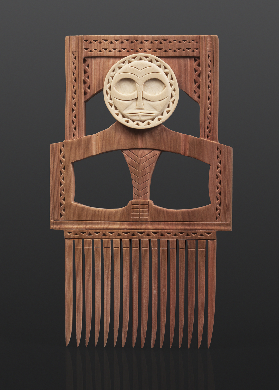 "Bluejay Wears a Mask Comb Greg Robinson Chinook Red cedar, yellow cedar, custom stand 9"" x 4½"" x ½"" $1600 Columbia river Northwest coast Chinookan"