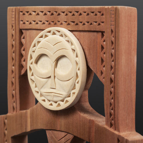Bluejay Wears a Mask Comb Greg Robinson Chinook Red cedar, yellow cedar, custom stand 9