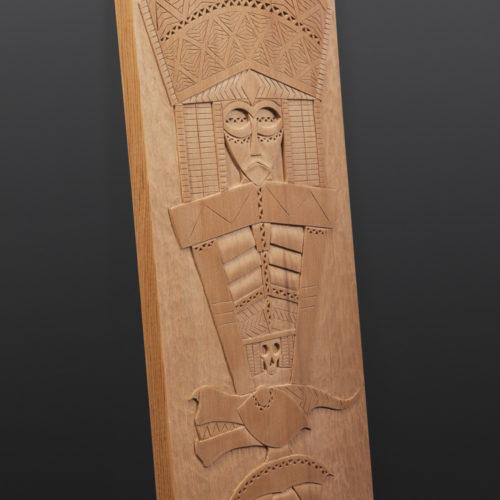 "River Serpent Panel Greg Robinson Chinook Red cedar 15¼"" x 7½"" x ½"" $2200 Columbia river Northwest coast Chinookan"