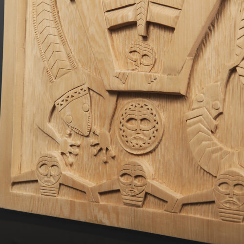 "Makers of the First Net Panel Greg Robinson Chinook Yellow cedar 16¾"" x 10¼"" x 1½"" $3200 Columbia river Northwest coast Chinookan"