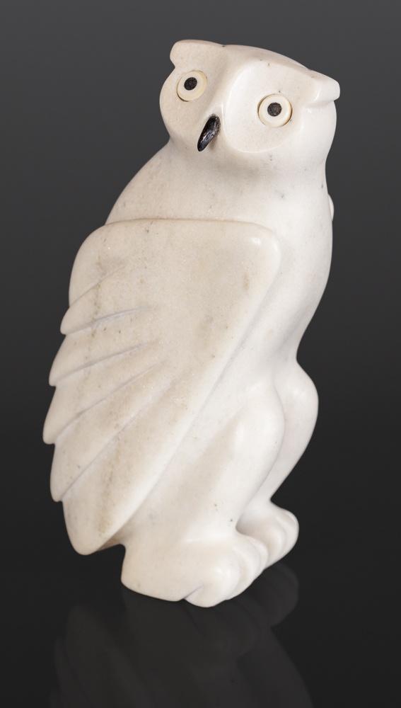 Owl Joanosie Manning Inuit Marble Antler Baleen 10¼ x 5¼ x 3½ $1900