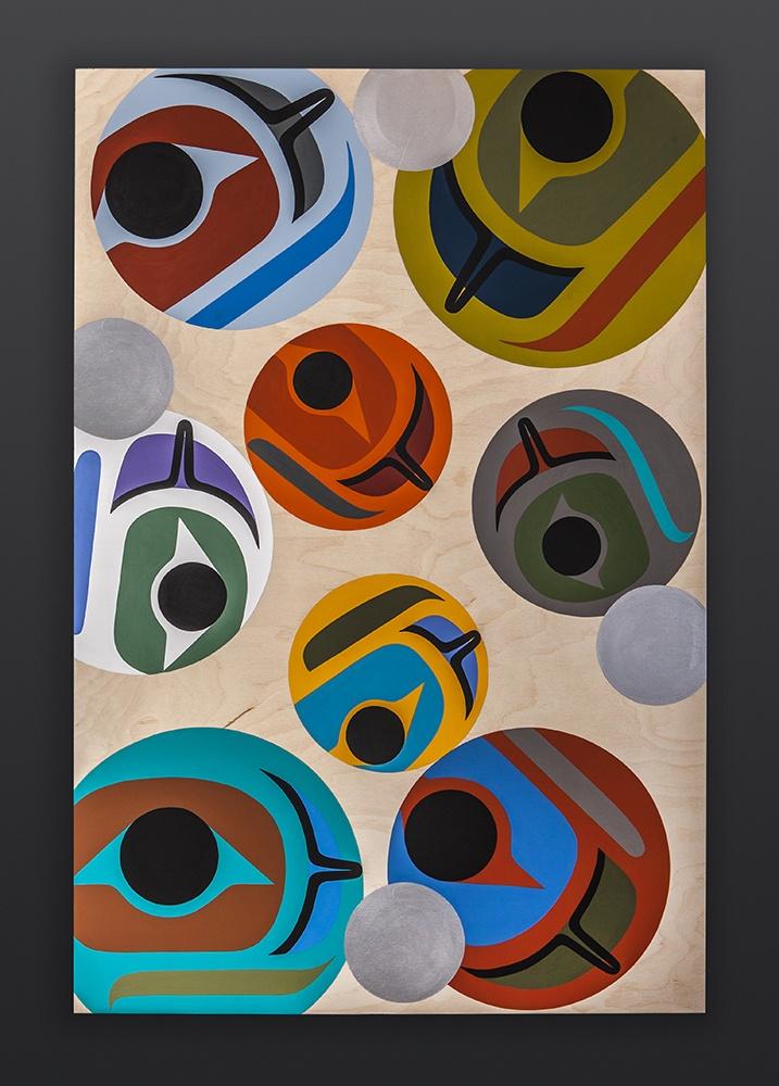 Steve Smith - Dla'kwagila Oweekeno Salmon Roe Acrylic on birch panel 3000