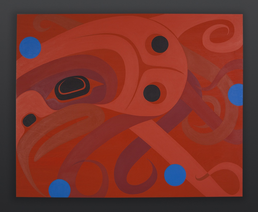 "Steve Smith - Dla'kwagila Oweekeno Curious Octopus Acrylic on birch panel 24"" x 30"" Reserved"