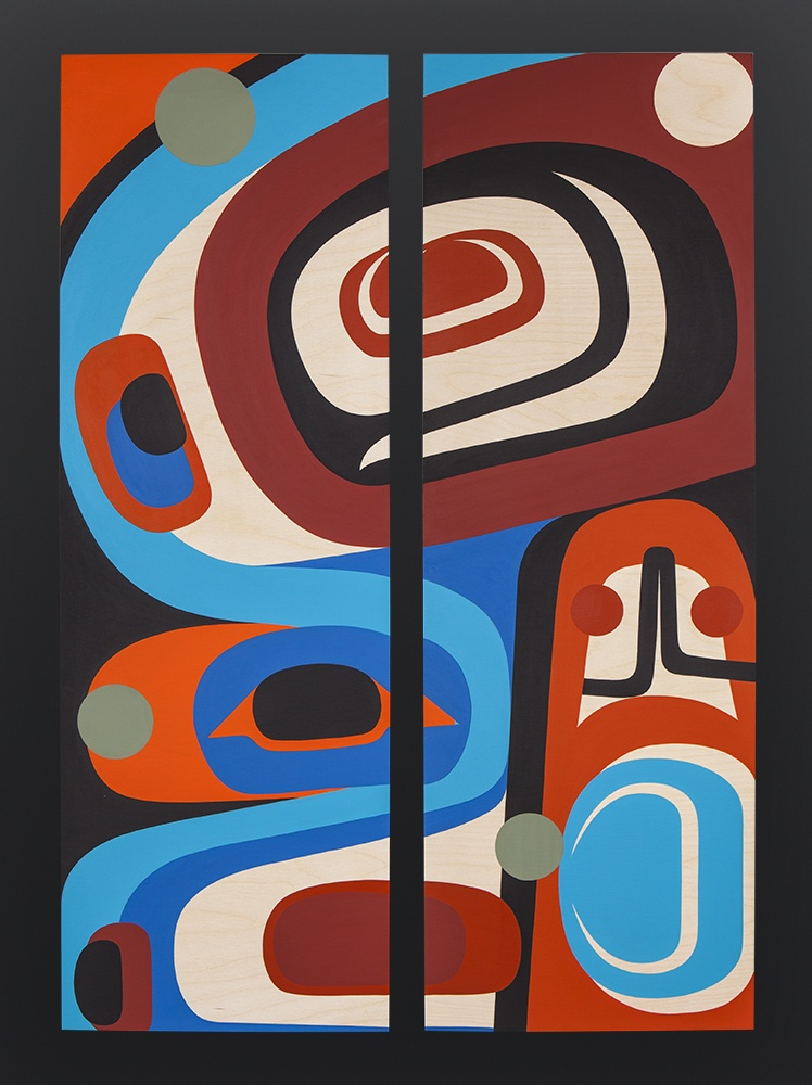 Steve Smith Dla'kwagila Oweekeno At This Moment Acrylic on panel Diptych 36 x 24 $3000