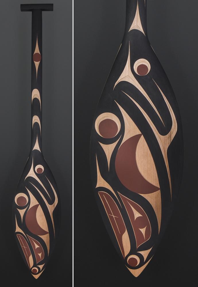 Andy Peterson Coast Salish Paddle Salmon Red cedar paint 50 x 9 $900