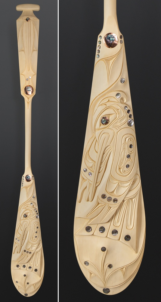 Troy Roberts Kwakwaka'wakw Hummingbird paddle Yellow cedar abalone copper 62 x 7 ½ $3500