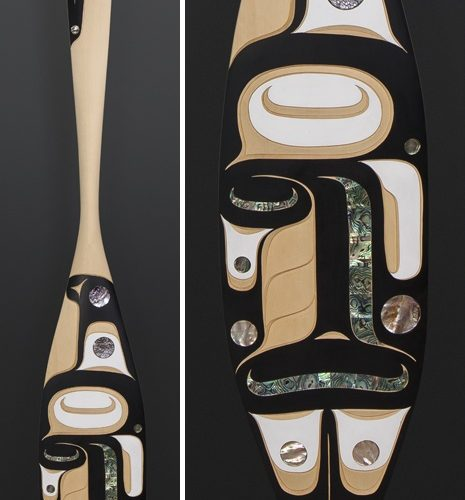 """Moy Sutherland Nuu-Chah-Nulth Yellow cedar, paint, abalone 68"""" x 8"""" orca"""