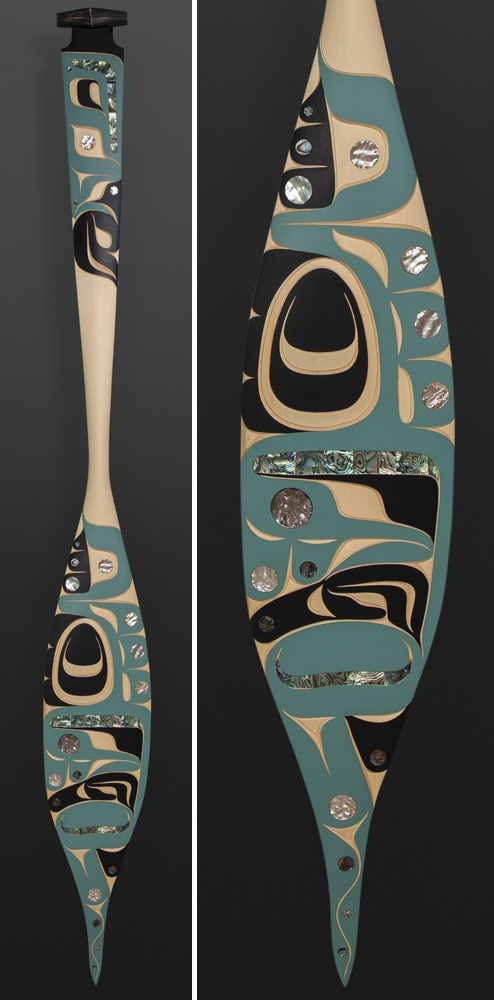 Moy Sutherland NuuChahNulth Hummingbird paddle Yellow cedar paint abalone 68 x 8 $3400