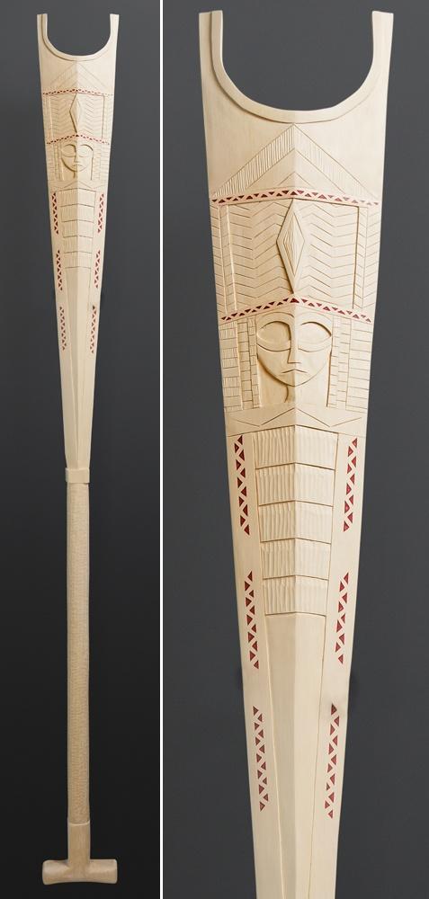 Greg A Robinson Chinook Pil Paddle Yellow cedar, ochre/cinnabar 60 x 5½ $2500