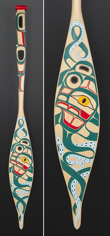 Octopus Corey Moraes Tsimshian paddle Yellow cedar paint 65 x 7 1/2 $4000
