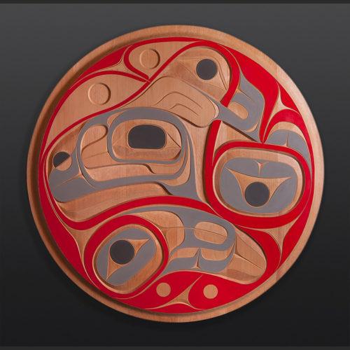"Rande Cook Beautiful Ocean whale panel Kwakwaka'wakw 5500 Red cedar, paint 36"" x 36"" x 2"""