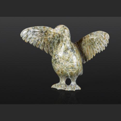 Bird Drying Wings Pudlalik Shaa Inuit Serpentine 3¾ x 5 x 2 $345