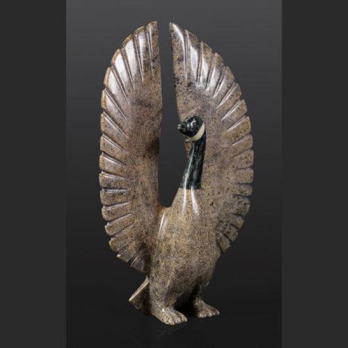 Canada Goose Johnysa Mathewsie Inuit Serpentine soapstone 13 x 8 x 4 2200