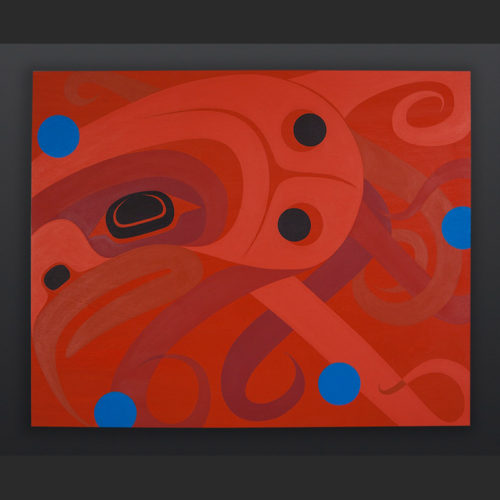 "Steve Smith - Dla'kwagila Oweekeno Curious Octopus Acrylic on birch panel 24"" x 30"" Reserved"