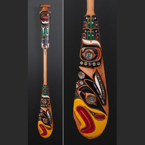 Eagle Troy Roberts Kwakwaka'wakw paddle Yellow cedar copper abalone paint 63 x 8 $3500