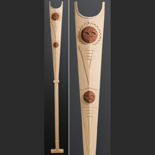 Greg A Robinson Chinook father son paddle Yellow & red cedar 60 x 5½ $2500