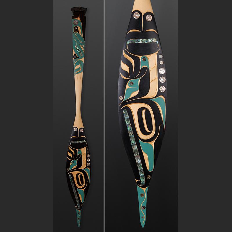 Hummingbird Paddle Moy Sutherland Nun Chah Nulth Yellow cedar abalone paint 69 x 8 x 1 $3500