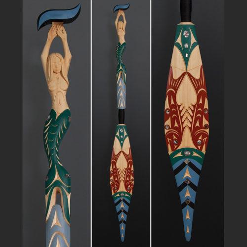 Luke Marston Coast Salish King of the Cod Fisherman Mermaid Yellow cedar paint abalone 62 x 6 $8000