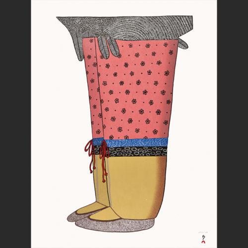 "Ningeokuluk Teevee My New Boots cape dorset 2016 Stonecut & Stencil 24"" x 18½"""