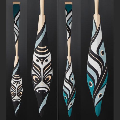 Kelly Cannell Coast Salish Salish Owl paddle Yellow cedar paint 64 x 7 $3900