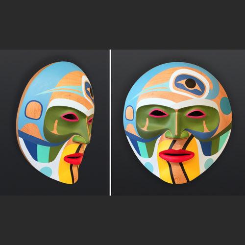 Steve Smith Dlakwagila Oweekeno Summer Moon Acrylic on red cedar mask 18 x 18 x 7 5800