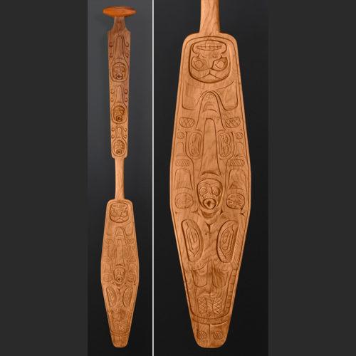 Jonathan Henderson Kwakwaka'wakw Orca Family' Paddle Nimpkish Valley yew wood 70 x 8 $4400