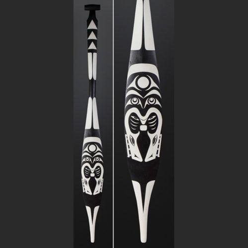Greg Colfax Makah Potlatch Paddle Yellow cedar paint 63 x 6 $1600