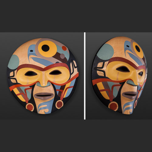 "prosperity autumn moon fall hawk Steve Smith - Dla'kwagila Oweekeno Acrylic on red cedar mask 18"" x 18"" x 7"" 6500"