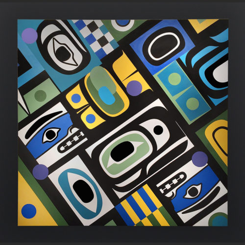Steve Smith Dlakwagila Oweekeno Chilkat The Spirit Thats Around Us Acyrlic on birch panel Painting 48 x 48 8000