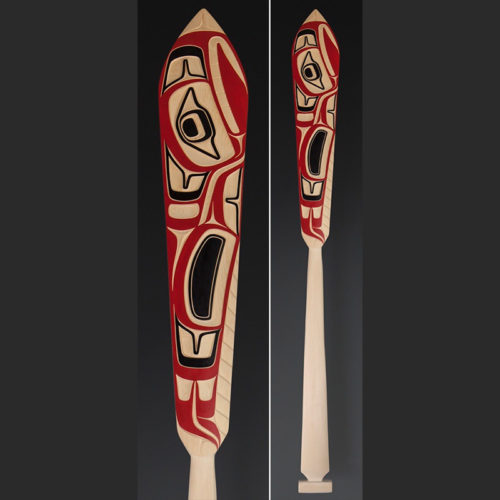 Cori Savard Haida Thunderbird paddle Yellow cedar paint 62 x 6½ $2500