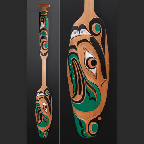 Thunderbird Raymond Shaw Kwakwaka'wakw paddle Red cedar paint 59 x 8 $2900