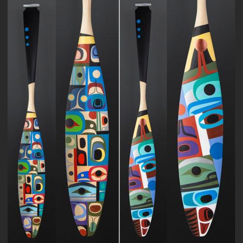 Steve Smith - Dla'kwagila Oweekeno vision paddle Yellow cedar paint 62 x 7½ $6000
