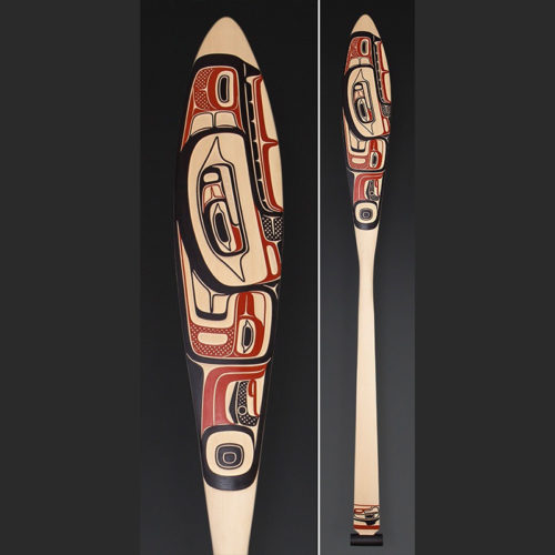 Wealth in Culture Clifton Guthrie Tsimshian paddle Yellow cedar paint 61 x 6 $2700