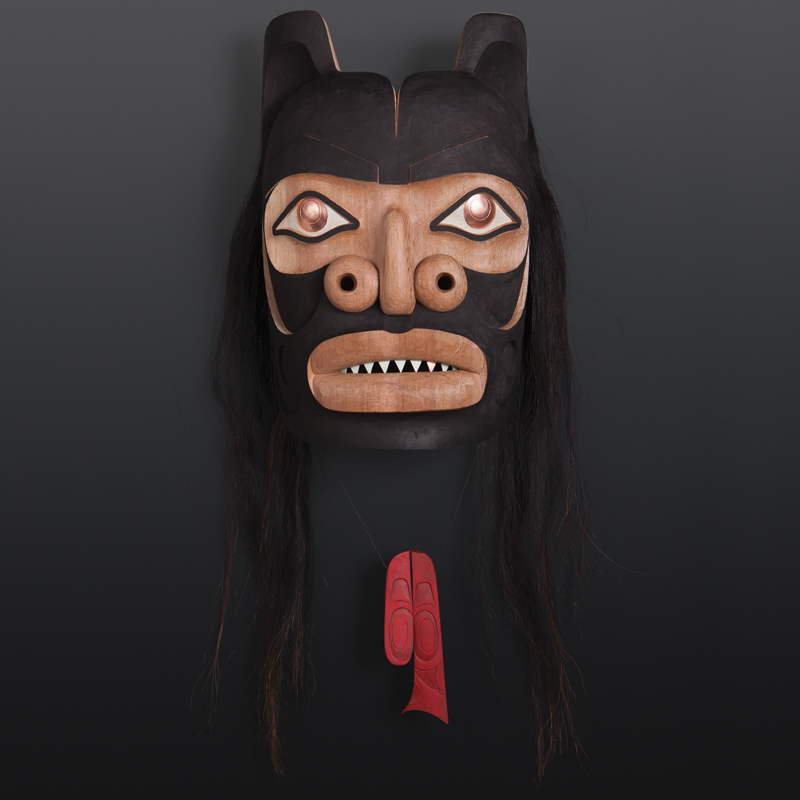 black bear dean hunt Heiltsuk red cedar, copper, paint, horse hair 3200
