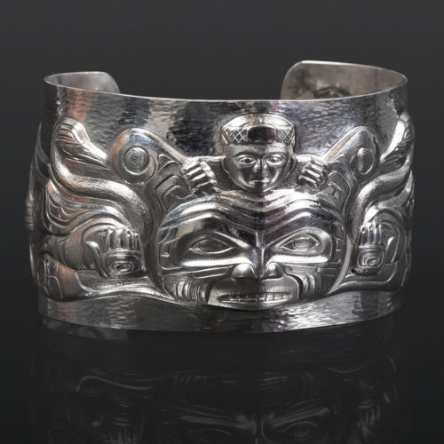 Family Crest Gus Cook repousse bracelet jewelry swans sisiutl Kwakwaka'wakw Silver 2 x 6 7500