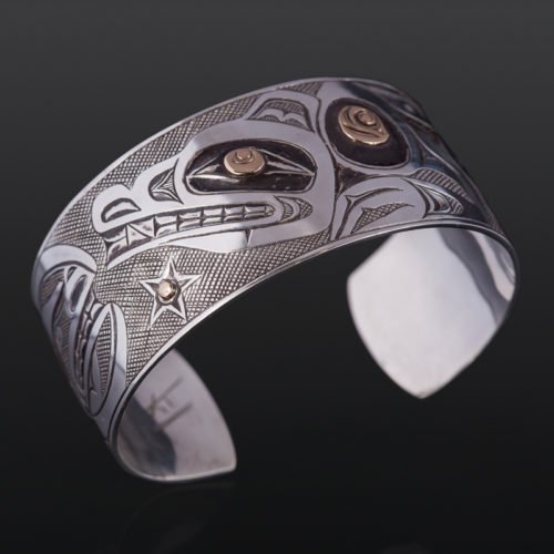 "Wolf and the Night Sky Kelvin THompson saulteaux haisla silver and gold 6"" x 1 1/4"" 2200 northwest coast jewelry bracelet"